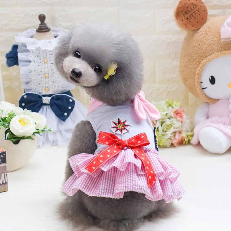 Dog Princess Dress Multicolor Bowknot Ribbon Pet Dog Dress Roupa - honeylives