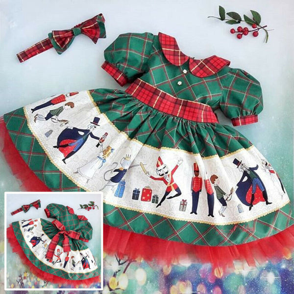 Emmababy 2Pcs Christmas Toddler Kid Baby Girl  Floral Printed Santa Swing Dress - honeylives