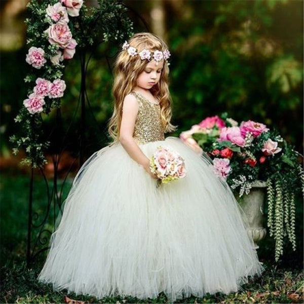 Girl Bridesmaid Dresses Birthday Fashion Party Sequin Princess Dresses 3-8T - honeylives