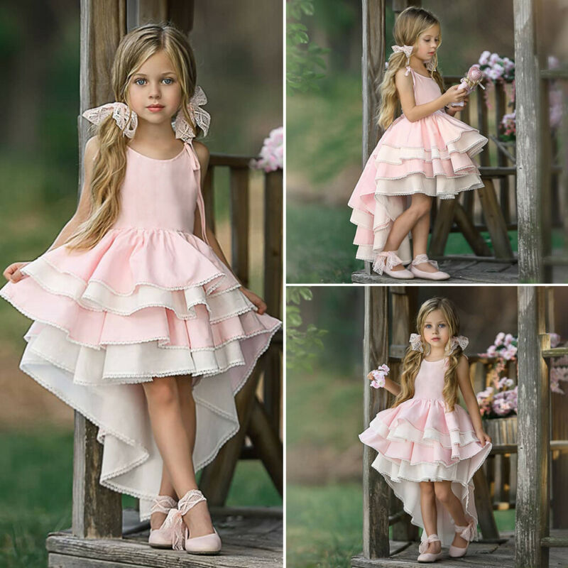 Kids Girl Princess Ruffles Wedding Bridesmaid Pageant Formal Dress 1-6Y - honeylives