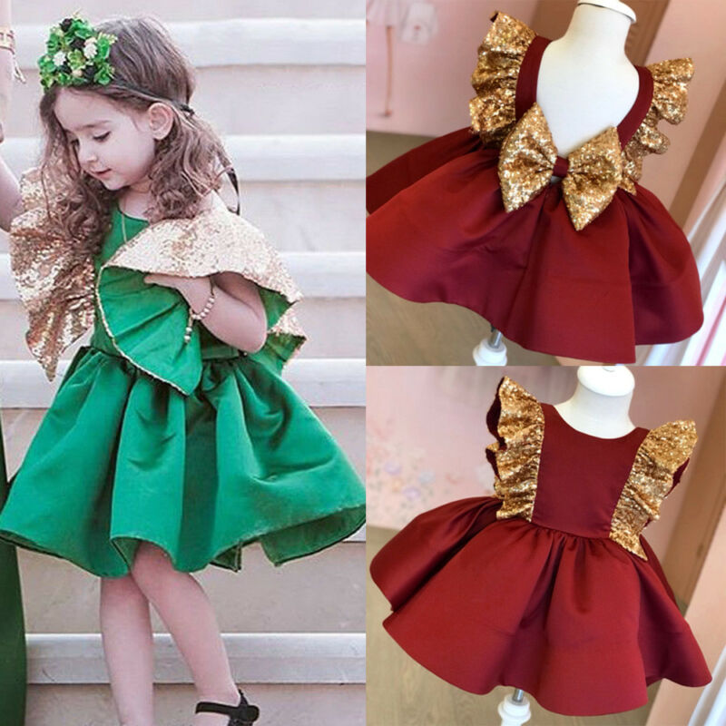 Toddler Girl Party Pageant Wedding Bridesmaid Gown Big Bowknot Ruffles Formal Dress - honeylives