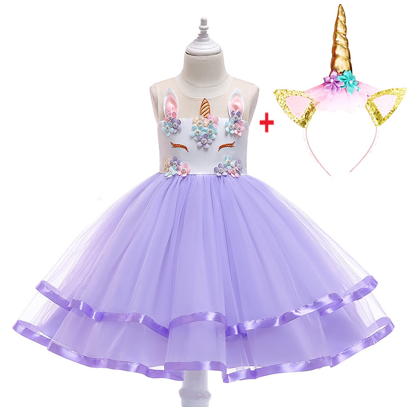 Girl Princess Fantasy Unicorn Birthday Party Infant Tutu Christmas Dress For 2-10 Year - honeylives