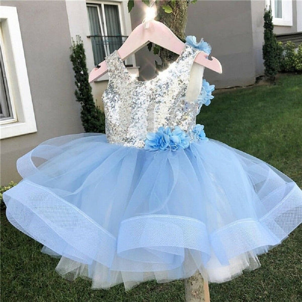 Fashion Kids Girl Sequined Lace Princess Birthday Sleeveless Backless Tutu Tulle Dress 2-7Y - honeylives