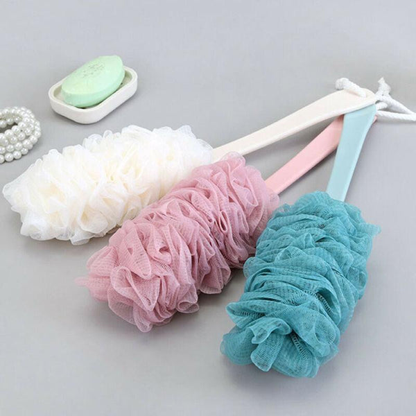 Bathroom Long Handle Hanging Soft Mesh Back Shower Scrubber Brush