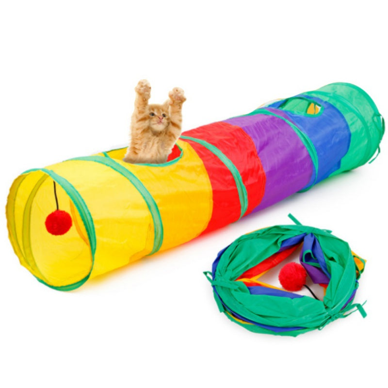 Foldable Pet Tunnel Cat Play Rainbown Tunnel 2 Holes Toy Bulk Toys - honeylives