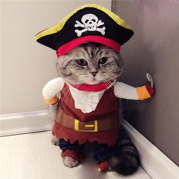 Funny Cat Pirate Suit Cats Dogs Costume Dressing Up Cat Party Costumes - honeylives