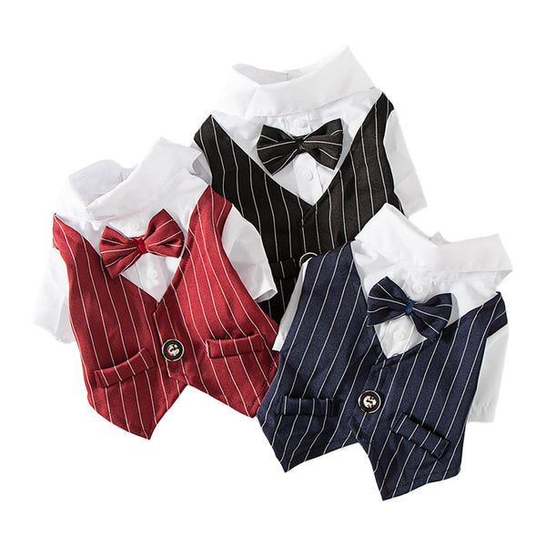 Gentleman Dog Clothes Wedding Suit Formal Stripe Shirt  Fashion Costume - honeylives