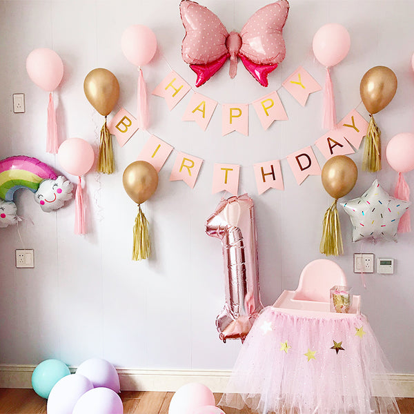 Kids Pink Balloon Birthday Party Background Wall Decoration Set Happy Birthday - honeylives