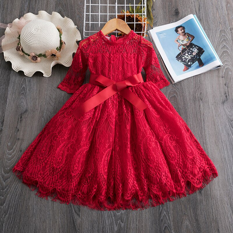 Kids Girls Flower Lace Embroidery Dress Princess Party Ball Gown Wear - honeylives