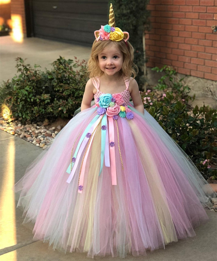 Girls Pastel Unicorn Flower Tutu Dress Crochet Tulle Strap Birthday Dress Ball Gown Party Costume - honeylives
