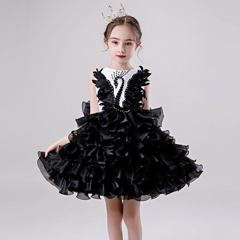 Girls Princess Tutu Dress Lace Applique Elegant Party Dress 1-10 Years - honeylives