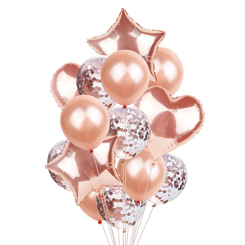 14pcs/set Wedding Balloon Happy Birthday Party Supplies Rose Gold Balloon - honeylives