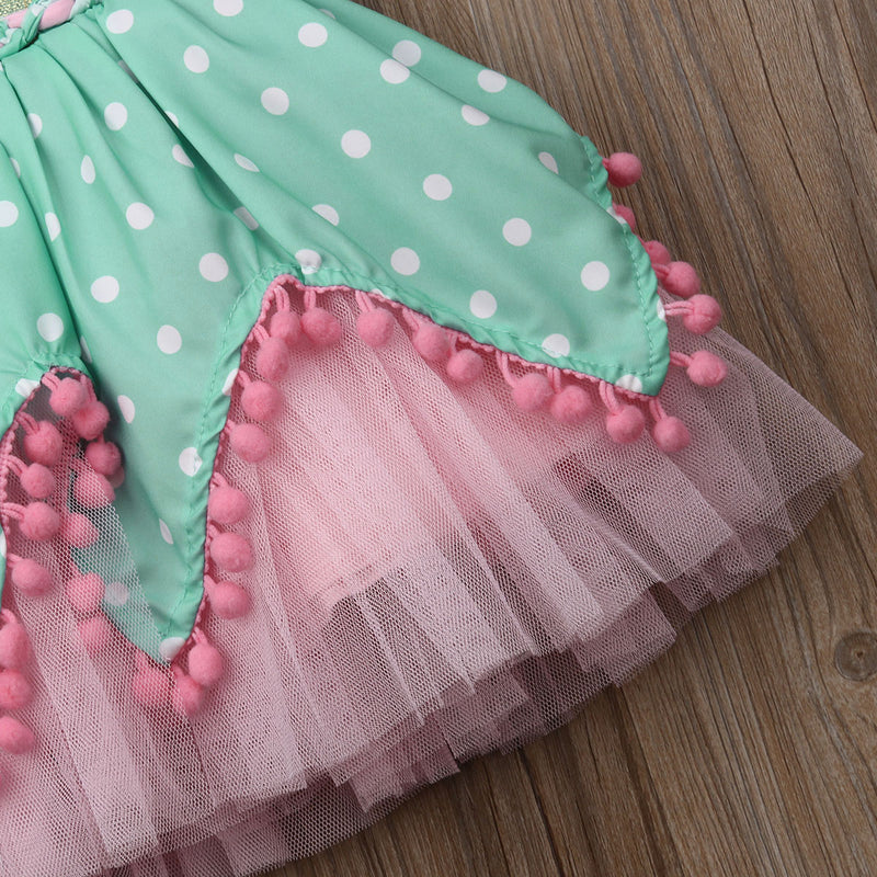 Kid Girl Princess Bow Pom Tulle Tutu Party Birthday Wedding Dress 6M-5Y - honeylives