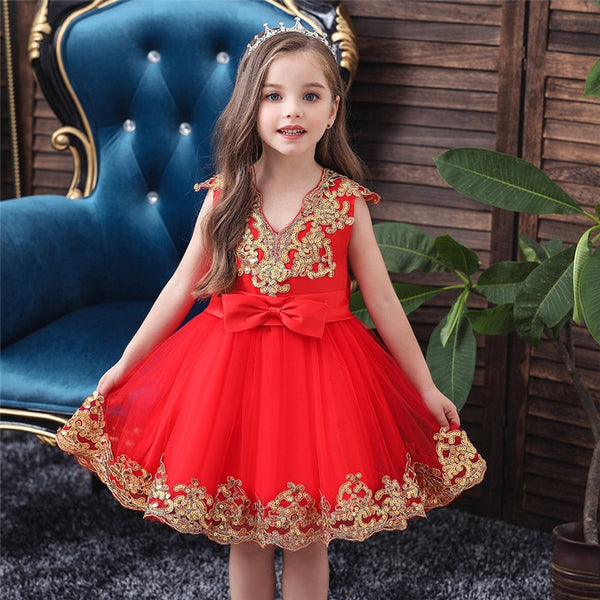 Flower Girl Dress Elagent Baptism Birthday Party Wedding Lace Tutu Dress - honeylives