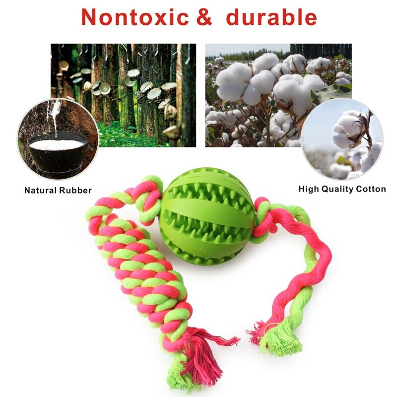Pet Dog Toys Funny Interactive Elasticity Ball Tooth Clean Balls Rubber Toy - honeylives