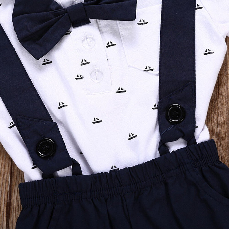 Baby Boys Clothes Short Sleeve Suit Tie Romper + Pants Outfits 2 Pcs - honeylives
