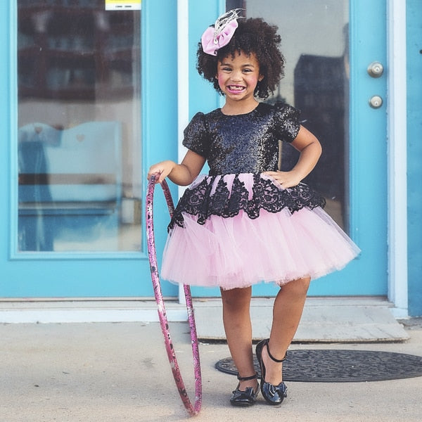 Kid Girls Dress Lace Tutu Formal Pageant Bridesmaid Tulle Dress 1-5Y - honeylives