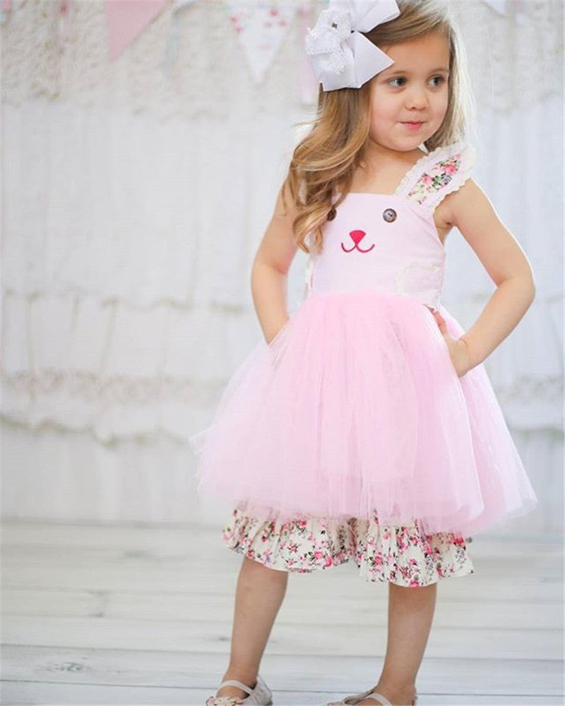 Bunny Flower Girls Summer Princess Tulle Party Birthday Dress 2-6T - honeylives
