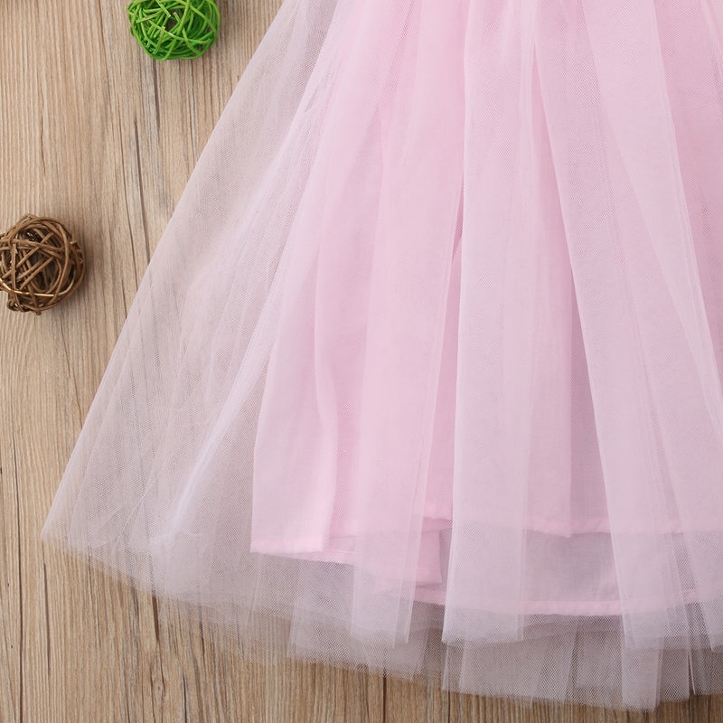 Flower Girl Pageant Pink Lace Floral Princess Birthday Tutu Bridesmaid Formal Dresses 1-7Years - honeylives
