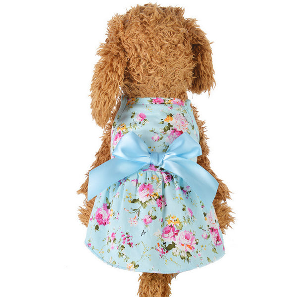 Cute Ribbon Dog Dress Summer Pet Clothing Cozy Sleeveless Shirt Princess Party Dog Skirt - honeylives