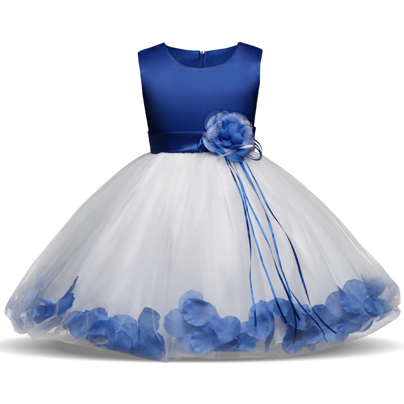 Kids Girl Dress Birthday Party Dress with Flowers Princess Ball Gown - honeylives