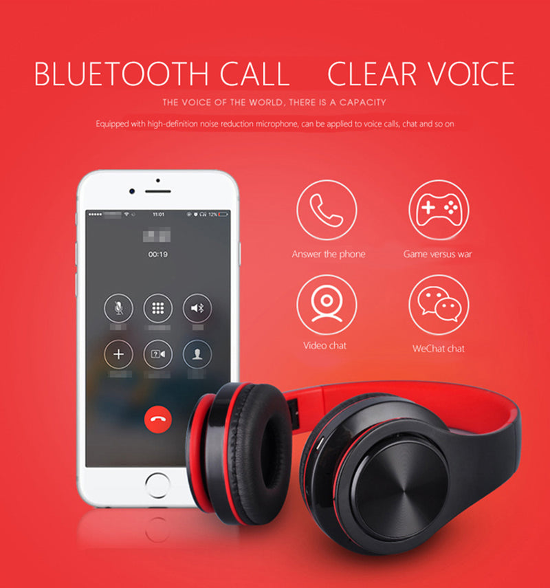 Folder Bluetooth Headphones Microphone Wireless Bluetooth Earphone - honeylives