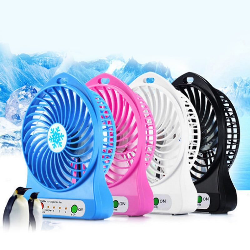 Adjustable 3 Speed USB Rechargeable Fans Air Cooler Outdoor Portable LED Light Fan - honeylives