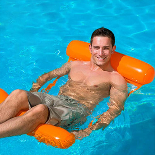 Water Hammock Recliner Inflatable Floating Bed Outdoor Swimming Pool - honeylives