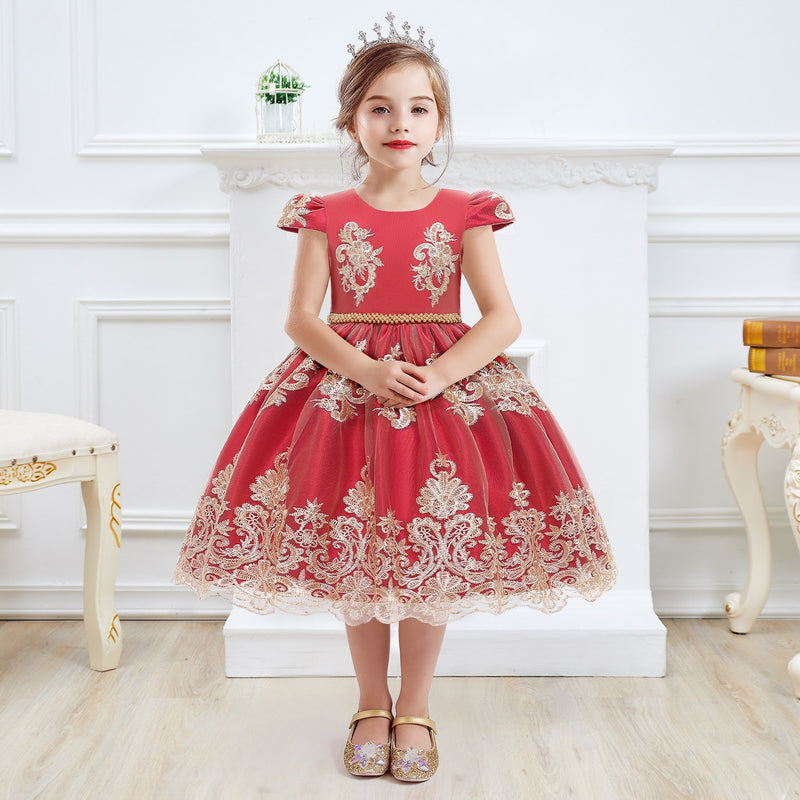 Girls Dress Princess Embroidery Chirstmas Evening Birthday Party Dress - honeylives