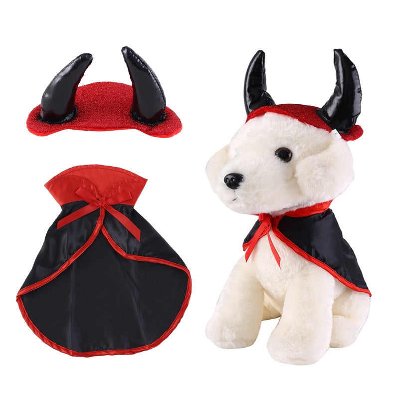 Halloween Pet Costumes Cute Cosplay Vampire Cloak Cape Dog Cap with Cosplay Horns - honeylives