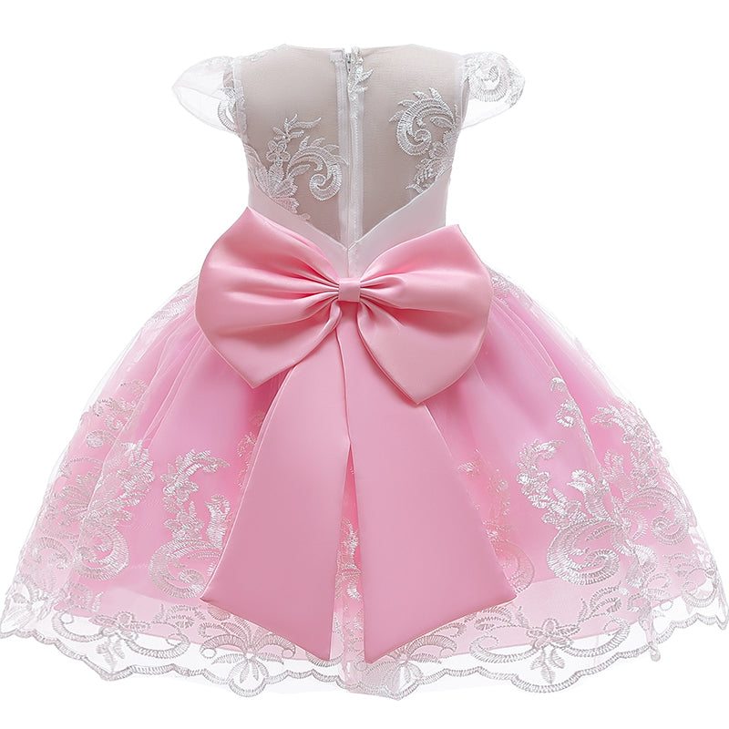 Girl Embroidery Unicorn Big Bow Princess Dress Wedding Party Kids Dresses - honeylives