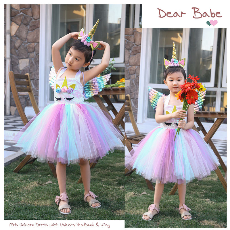 Girls Dress Unicorn Birthday Tutu Dress Sequin Pastel Clothing - honeylives