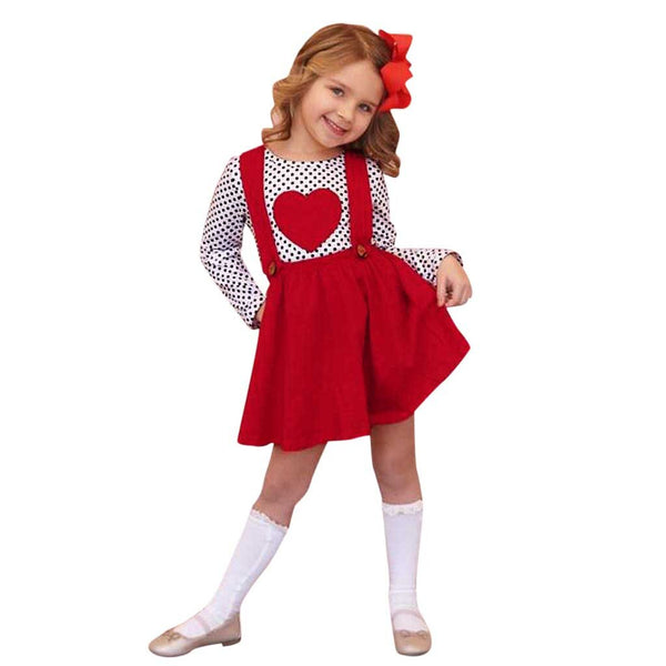Kids Baby Girls Outfits Heart-shaped Suspender Skirts Clothes Sets - honeylives