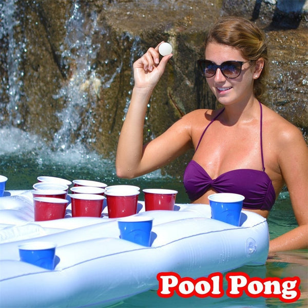 Inflatable Beer Table Cup Hole Floating Row Water Table Tennis Table Entertain Free Shipping - honeylives