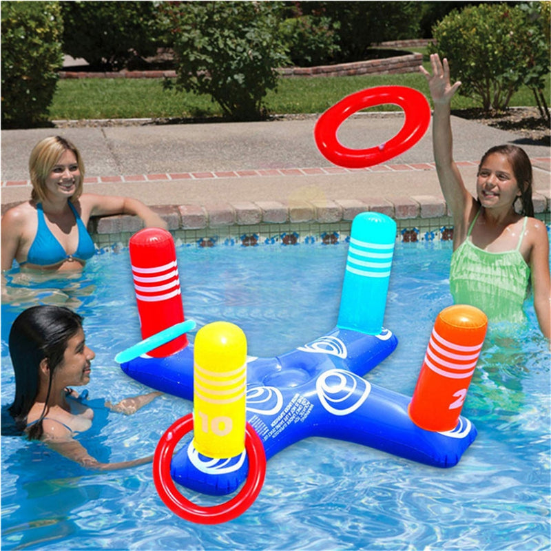 Inflatable Cross Ring Toss Game Swim Pool Fun Toys Summer Water Beach Party Props - honeylives