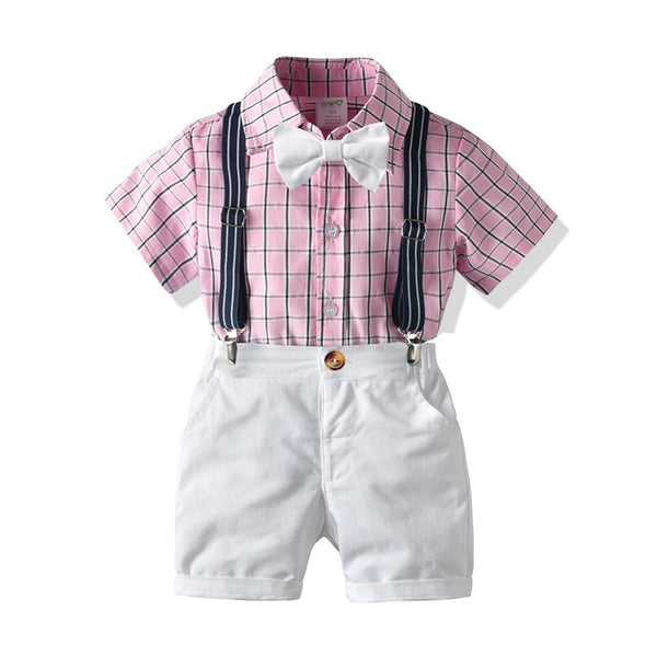 Kids Baby Boy Suit Gentleman Formal T-Shirt+Belt Pants 2Pcs - honeylives