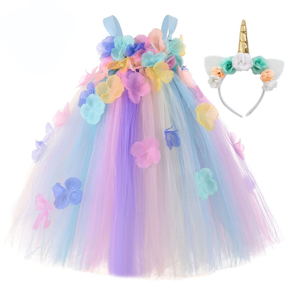 Kids Flowers Girl Unicorn Dress Rainbow Birthday Fairy Dress with Unicorn Headband - honeylives