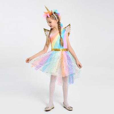 Kids Girls Unicorn Fancy Dress With Hair Hoop Wings Rainbow Sequined Tutu For 4-12 Years - honeylives