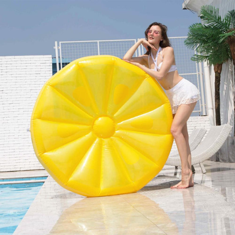 Large Flatable Float Bed Pool Float Lemon Mattress For Adult Tube Raft Swimming Beach Pool Water Toy - honeylives
