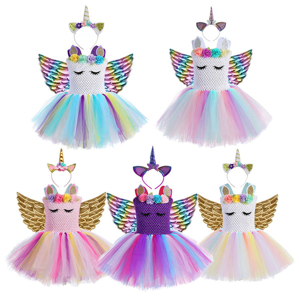 Little Child Princess Christmas Costume for Girls Unicorn Dresses Kids Birthday Party Frock Flower Pony Tutu Dress - honeylives