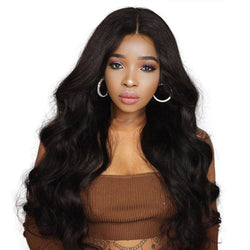 Long Wavy Black Wigs Brown for Women Synthetic Natural Middle Part Heat Resistant