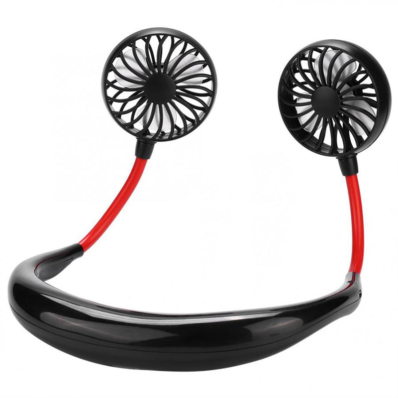 Neck Band Fan Portable Mini Double Wind Fan with USB Rechargeable Air Cooler - honeylives
