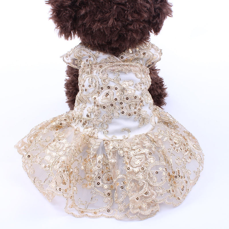 Dog Cat Wedding Dress Tutu Flower LacPrincess Dress Party Apparel 2 Colours - honeylives