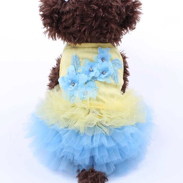 Dog  Cat Tutu Flowers Pet Puppy Shirt Vest Clothes Apparel 5 Sizes 3 Colours - honeylives