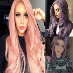 Female Wig Harajuku Purple Pink Wave Long Curly Hair of Medium