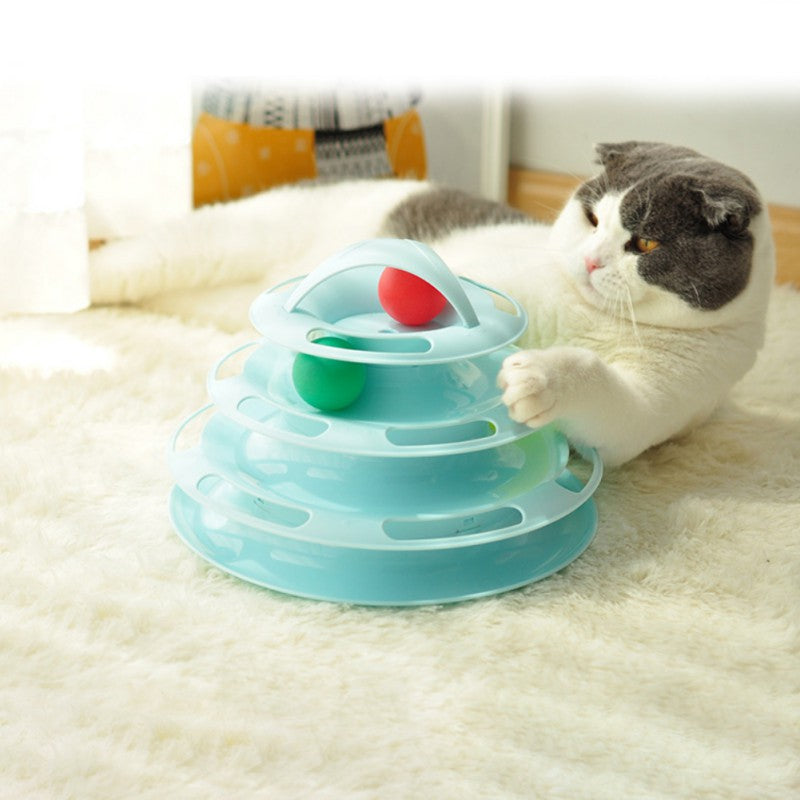 Pet Cat IQ Training Toys 4-Layer Kittens Entertainment Cat Amusement Plate - honeylives