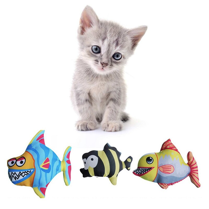 Pet Cat Pillow Toys Fish Catnip Toys Elastic Colorful Grind Teeth Chew Toys - honeylives