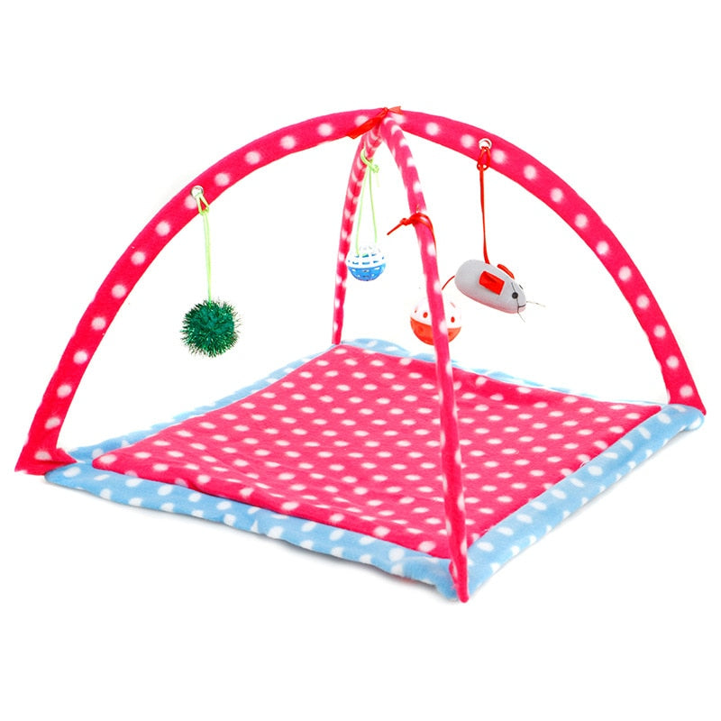 Pet Cat Toys Cartoon Tent Hammock Bed House Play Game with Hanging Toy Balls - honeylives