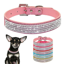 Pet Collar Adjustable Leather Crystal Diamond Dog Necklace - honeylives
