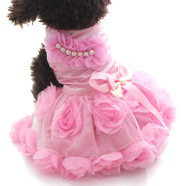 Pet Dog Princess Dress Tutu Rosette&Bow Puppy Skirt Apparel 2 Colours - honeylives
